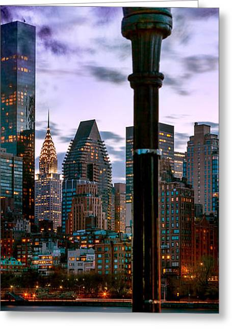 New York Manhattan Island Greeting Cards - Evening Glow Greeting Card by Az Jackson
