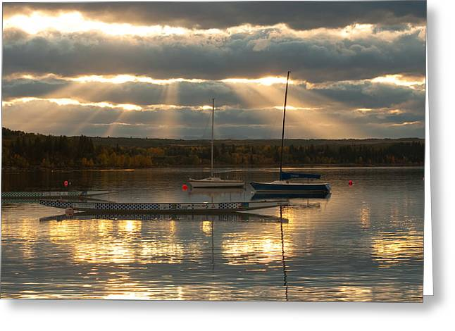 Glenmore Reservoir Greeting Cards - Evening glow on Glenmore Greeting Card by Michael Mckinney