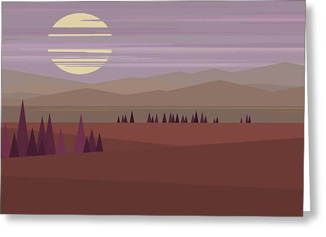 Minimalist Landscape Greeting Cards - Evening Hue - Big Moon Greeting Card by Val Arie