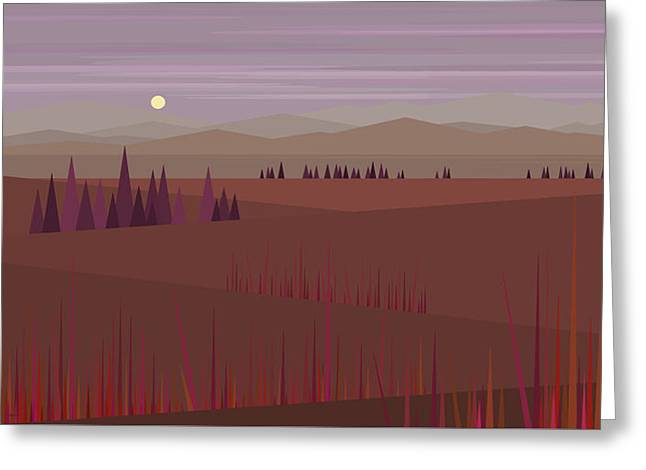 Minimalist Landscape Greeting Cards - Evening Hue II Greeting Card by Val Arie