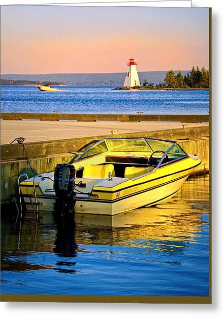 Boats In Harbor Greeting Cards - Evening in Baddeck Harbour Greeting Card by Carolyn Derstine