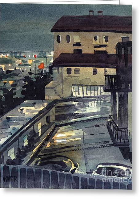 City Lights Greeting Cards - Evening in Belmont Greeting Card by Donald Maier
