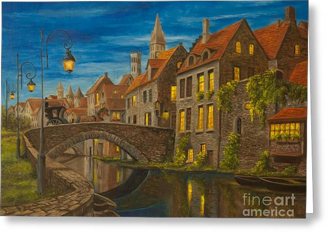 European Artwork Greeting Cards - Evening in Brugge Greeting Card by Charlotte Blanchard