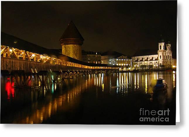 Luzern Greeting Cards - Evening In Luzern Greeting Card by Al Bourassa