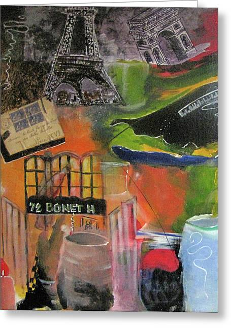 Mix Medium Paintings Greeting Cards - Evening In Paris 1925 Greeting Card by Gary Smith