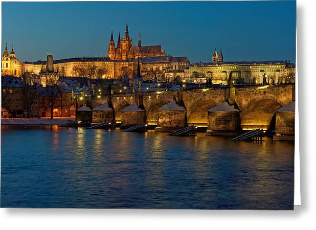 Prague Castle Greeting Cards - Evening in Prague Greeting Card by Martin Capek