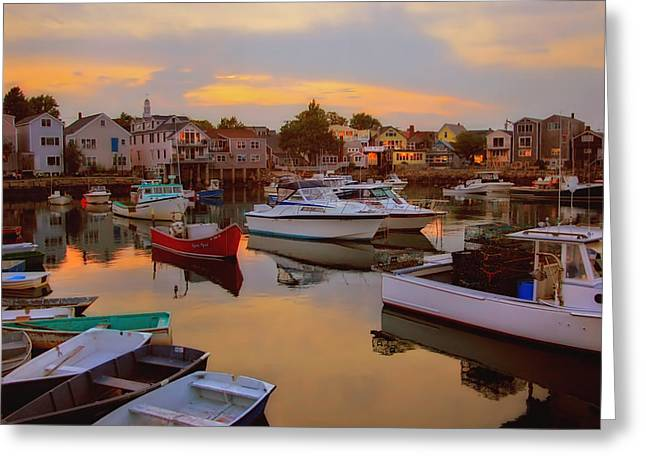 Evening In Rockport Greeting Card by Joann Vitali