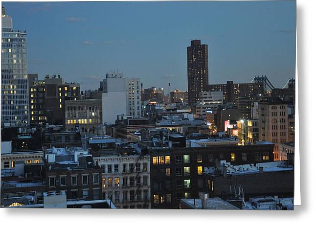 Office Buiding Greeting Cards - Evening In SoHo Greeting Card by Cracked Lens Studio