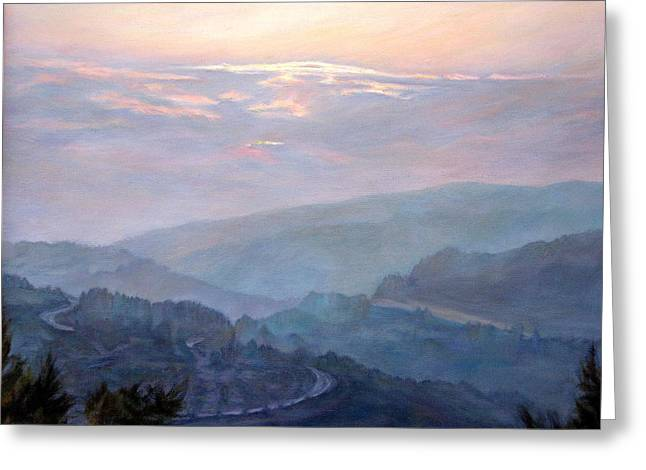 Mountain Road Greeting Cards - Evening in the mountains Greeting Card by Maya Bukhina