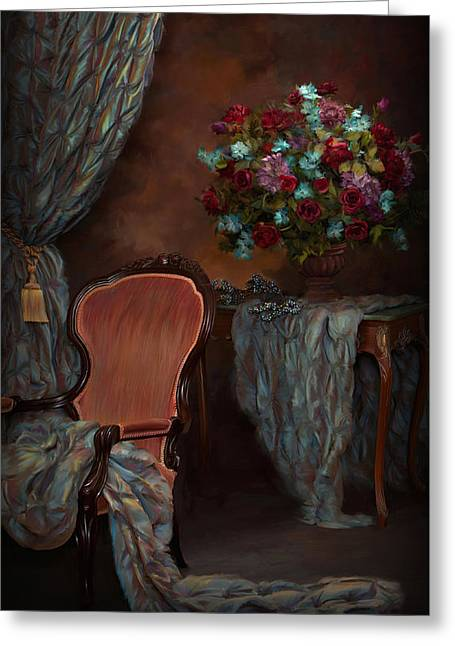 """indoor"" Still Life Digital Art Greeting Cards - Evening in the  Parlor Greeting Card by Daria Doyle"