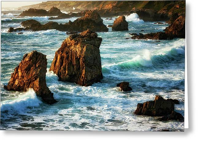 Evening Light Beauty Of The Pounding Surf At California's Garrapata State Park. Greeting Card by Larry Geddis