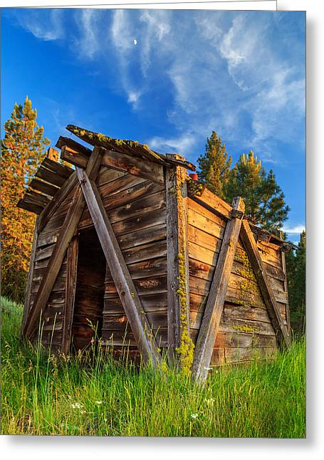 Old Cabins Greeting Cards - Evening Light On An Old Cabin Greeting Card by James Eddy