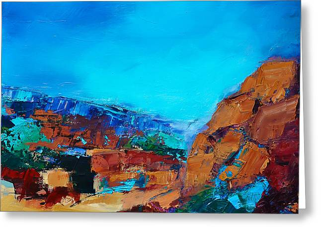 Canyons Paintings Greeting Cards - Early Morning Over the Canyon Greeting Card by Elise Palmigiani