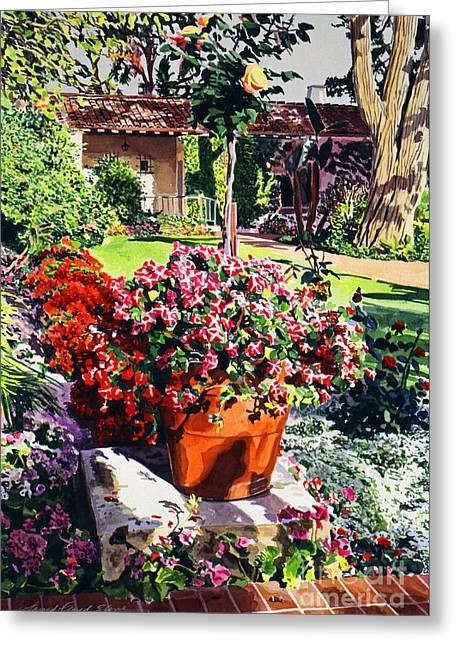 Barbara Paintings Greeting Cards - Evening light Santa Barbara Biltmore Greeting Card by David Lloyd Glover