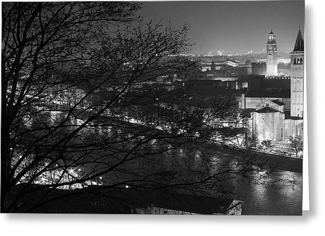Italian Sunset Greeting Cards - Evening Lights Of Verona Greeting Card by Top View