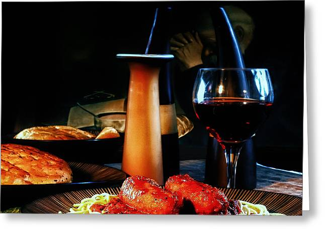 Italian Wine Greeting Cards - Evening Meal Greeting Card by Camille Lopez