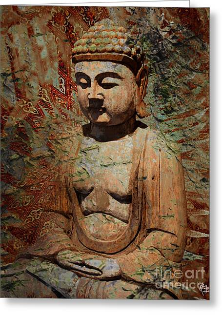 Buddhist Digital Greeting Cards - Evening Meditation Greeting Card by Christopher Beikmann