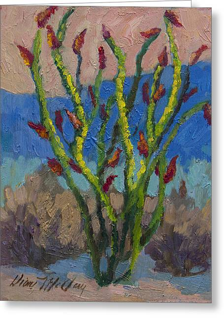 Ocotillo Cactus Greeting Cards - Evening Ocotillo Greeting Card by Diane McClary