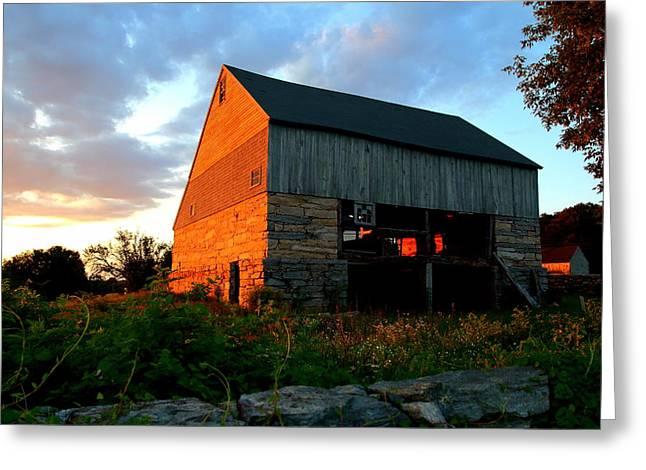 Evening On A Farm Greeting Card by Ursula Coccomo