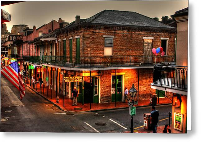 Flag Photographs Greeting Cards - Evening on Bourbon Greeting Card by Greg and Chrystal Mimbs