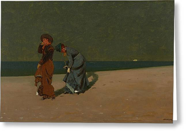 Evening On The Beach Greeting Card by Winslow Homer