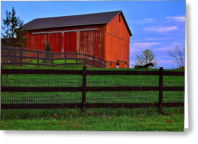 Evening On The Farm Greeting Card by Frozen in Time Fine Art Photography