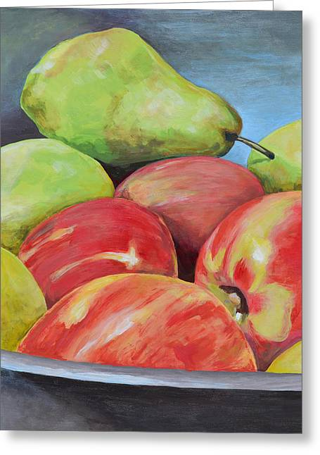 Still Life With Green Apples Greeting Cards - Evening Pears and Apples Greeting Card by Mary Chant