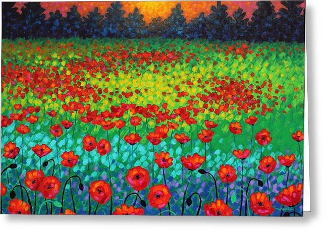 Acrylic Art Paintings Greeting Cards - Evening Poppies Greeting Card by John  Nolan