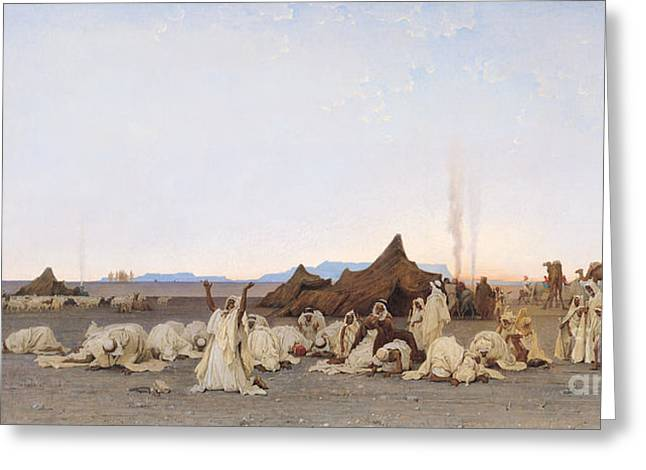 Sahara Greeting Cards - Evening Prayer in the Sahara Greeting Card by Gustave Guillaumet