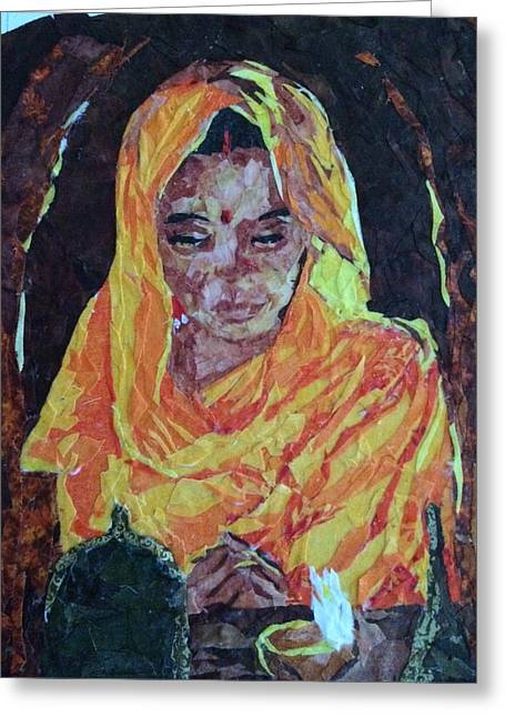 India Tapestries - Textiles Greeting Cards - Evening Prayer Greeting Card by Mihira Karra