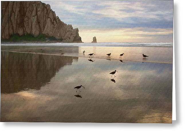 Morro Bay Greeting Cards - Evening Reflection Greeting Card by Sharon Foster