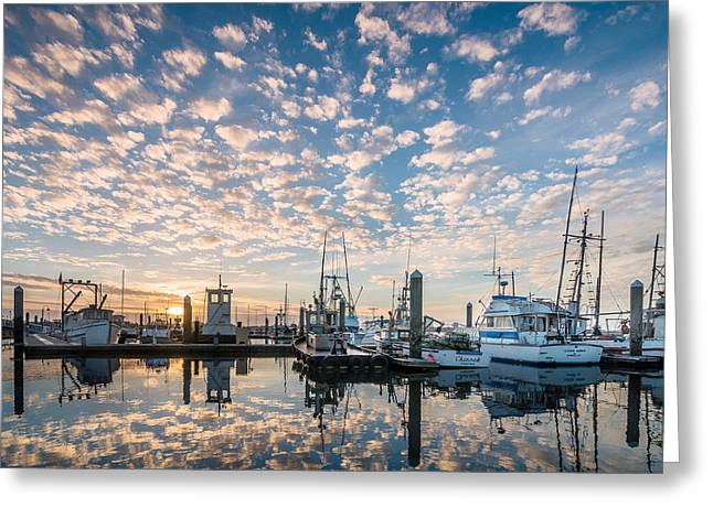 Reflection In Water Greeting Cards - Evening Reflections on Humboldt Bay Greeting Card by Greg Nyquist