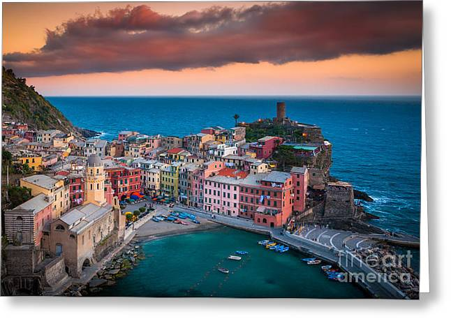 Reflecting Water Greeting Cards - Evening rolls into Vernazza Greeting Card by Inge Johnsson