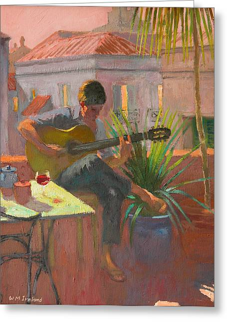 Strumming Greeting Cards - Evening Rooftop Greeting Card by William Ireland