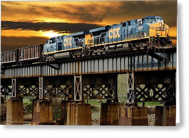 Train Bridge Greeting Cards - Evening Run Greeting Card by Tim Wilson