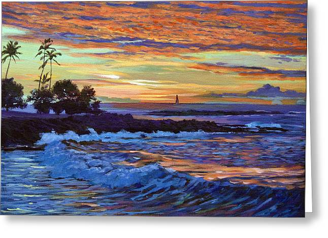 Beach Scenery Paintings Greeting Cards - Evening Sail Hawaii Greeting Card by David Lloyd Glover