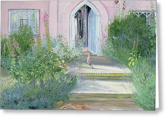 Foxglove Flowers Paintings Greeting Cards - Evening Shadows Greeting Card by Timothy Easton