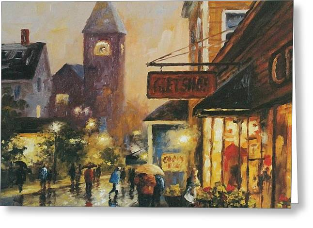 Main Street Greeting Cards - Evening Shoppers Greeting Card by Gary Shepard