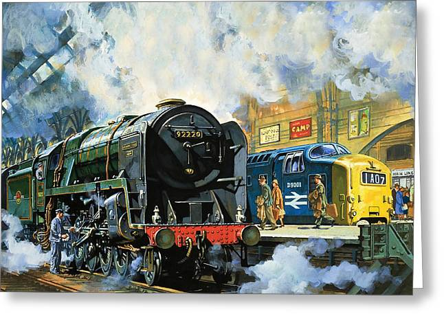 Evening Star, The Last Steam Locomotive And The New Diesel-electric Deltic Greeting Card by Harry Green