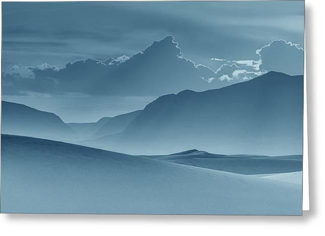 Evening Stillness - White Sands - Duvet In Blue Greeting Card by Nikolyn McDonald