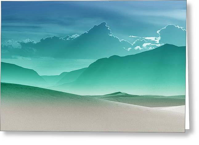 Gradations Greeting Cards - Evening Stillness - White Sands - Duvet in Sea Gradient Greeting Card by Nikolyn McDonald