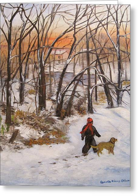 Dog In Snow Greeting Cards - Evening Stroll Greeting Card by Aurelia Nieves-Callwood
