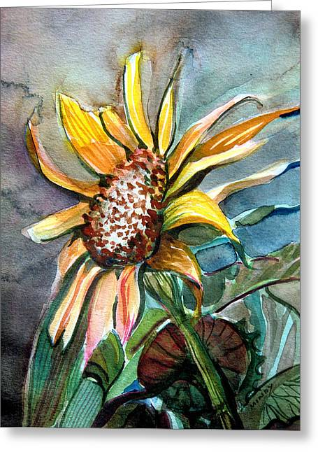 Harvest Drawings Greeting Cards - Evening Sun Flower Greeting Card by Mindy Newman