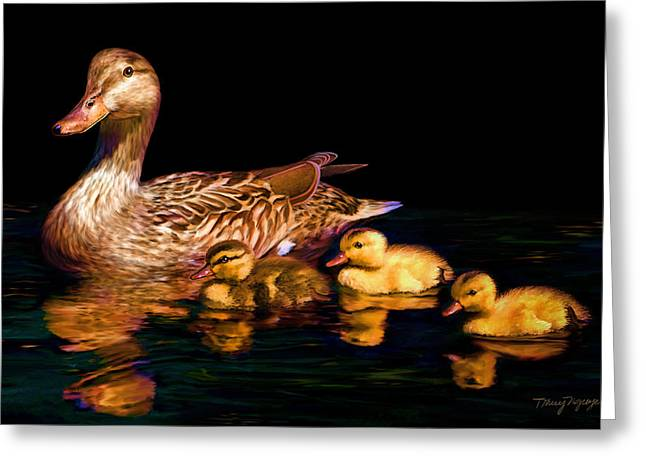 Ducklings Digital Greeting Cards - Evening swim Greeting Card by Thanh Thuy Nguyen