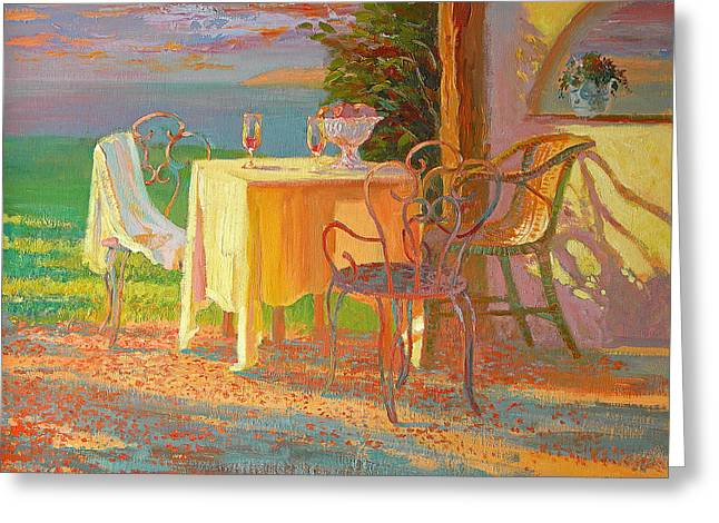 Interior Still Life Paintings Greeting Cards - Evening Terrace Greeting Card by William Ireland