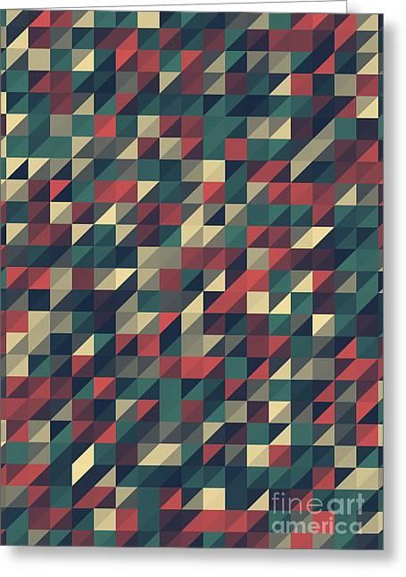 Geometric Artwork Greeting Cards - Evening Triangle Geometry Pattern Greeting Card by Frank Ramspott