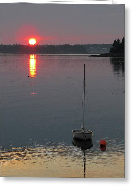 Cushing Greeting Cards - Evening View from the Dock Greeting Card by Kelly Mezzapelle