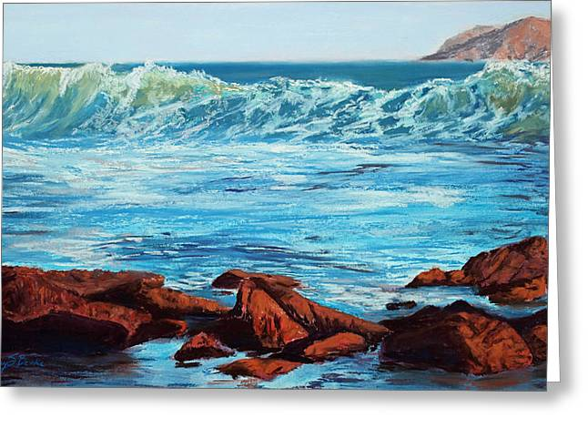 Coastline Pastels Greeting Cards - Evening Waves Greeting Card by Mary Benke