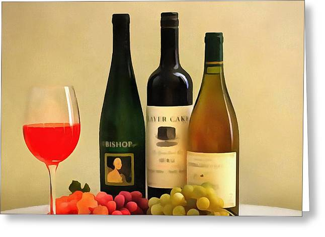 Wine Grapes Mixed Media Greeting Cards - Evening Wine Display Greeting Card by Dan Sproul