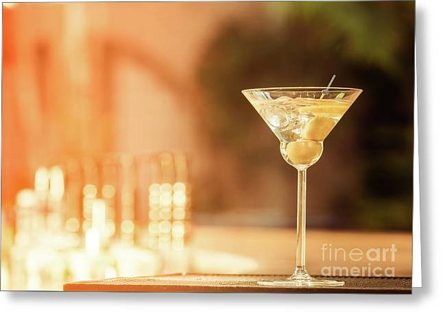 Evening With Martini Greeting Card by Ekaterina Molchanova